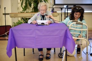 Elinor Down, 103, with Julie Washburn, program manager